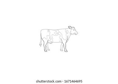 Cow Animal Cartoon Vector Outline Illustration