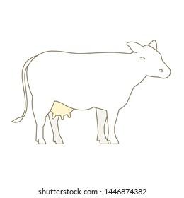 Cow animal. Milk farm production. Breeding cow. Cattle raising. Outline line contour vector illustration.