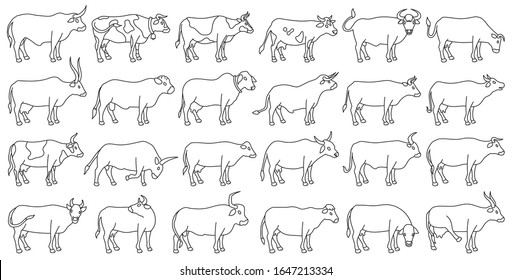 Cow of animal vector outline set icon.Isolated outline icon farm animal of cow.Vector illustration cattle for farm on white background.