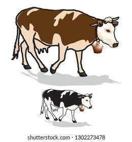cow, art, vector,