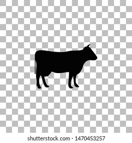 Cow. Black flat icon on a transparent background. Pictogram for your project