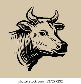cow black head vector on white background