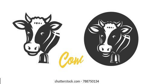 Cow. Black and white vector object.