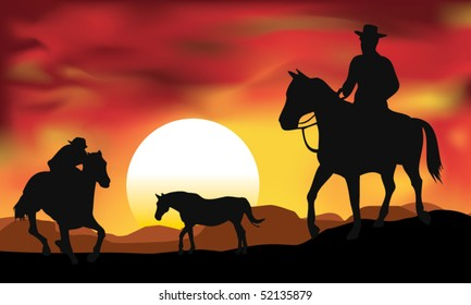 cow boy with sunset