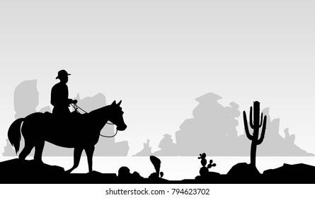 Cow boy wild west silhouette vector.
