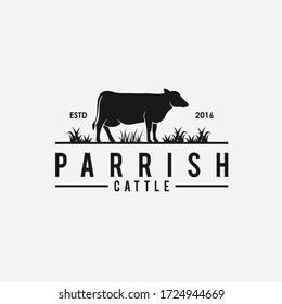 Cow breeder logo. beef vector.