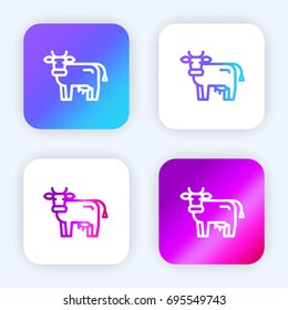 Cow bright purple and blue gradient app icon