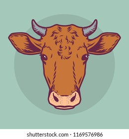Cow brown head icon. Cartoon nand drawn illustration of brown cow head vector icon for web