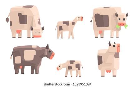 Cow, Bull and Calf Set, Geometric Farm Animals, Livestock Vector Illustration