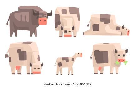 Cow, Bull and Calf Set, Geometric Farm Animals Vector Illustration