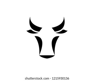 Cow and bull head icon illustration design