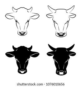 Cow and bull heads stylized symbols or icons. Silhouette of farm animal, cattle. Emblem, logo or label for design. Vector illustration
