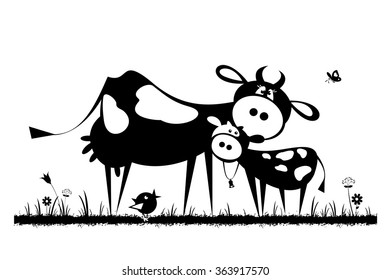 Cow with calf. Black and white vector silhouettes.