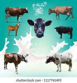 Cow Calf brown, vector set