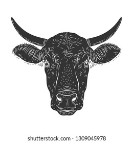 Cow calf bull's head isolated on white background. Cattle logo. Butchery sign. Beef, farm symbol. Poultry. Black and white emblem, symbol, silhouette. Stamp. Vector stencil illustration. Sketch.