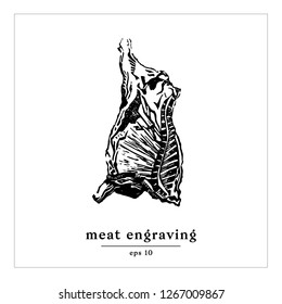 Cow carcass engraving vector illustration. Meat cow etching. Hand made art print. Black and white graphic beef with text. Gastronomic design template isolated. Linocut for restaurant identity style.