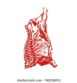 Cow carcass engraving vector illustration. Meat cow etching. Hand made print. Red beef. Gastronomy image.