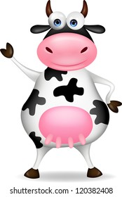 Cow cartoon waving