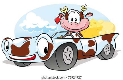 cow with cheese go by car