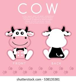 Cow : Cute Animal : Vector Illustration