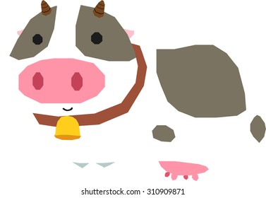 Cow with cuteness, vector illustration