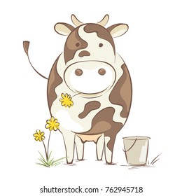Cow with dandelion. Funny vector illustration, cheerful cow en face