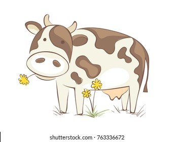 Cow with dandelion. Funny vector illustration, cheerful cow chews a flower