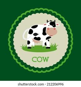 cow design over green  background vector illustration