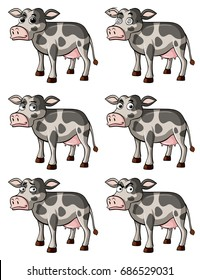 Cow with different facial expressions illustration
