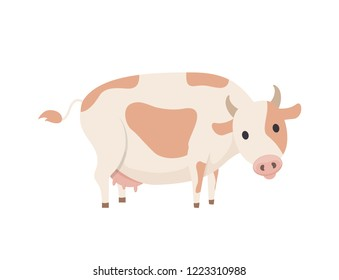 Cow emblem in simple style vector icon isolated on white. Big domestic animal, horned dairy cattle with spots on skin on back, with udder with milk