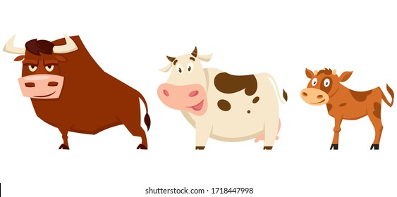 Cow family in cartoon style. Farm animals of different sex and age.
