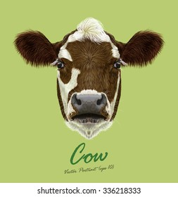 Cow farm animal face. Vector cute agriculture cattle head portrait. Realistic fur portrait of brown and white spotted calf isolated on green background.