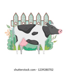 cow farm animal with garden and fence