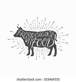 Cow. Farm animal icon, butchery concept isolated on white. Beef meat symbol, hand-drawing vintage silhouette. Premium beef label with grunge texture. Vector illustration for your design and business.