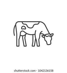 Cow, farm animal line icon.