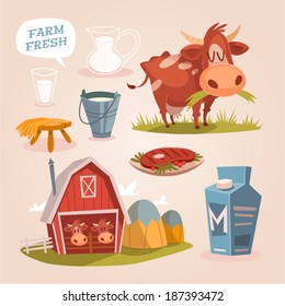 Cow farm. Dairy cattle. Retro style vector elements.