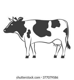 cow farm drawing animal milk vector monochrome outline art isolated line art contour