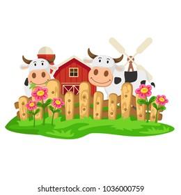 Cow farm ,illustration vector.