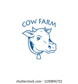 Cow farm logo. Vector of cow face design on white background.