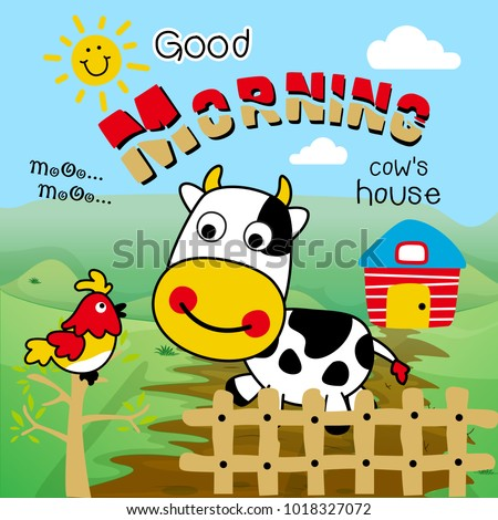 Cow Farm Say Good Morning Animal Stock Vector Royalty Free