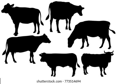 cow farm silhouette set