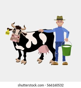 Cow and farmer holding bucket with milk. Vector illustration