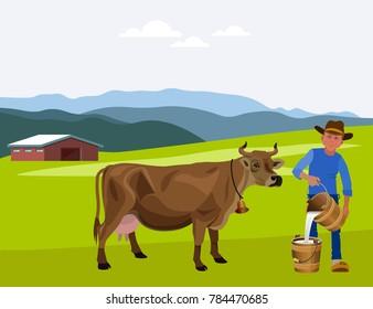 Cow and farmer on a dairy farm. Vector illustration