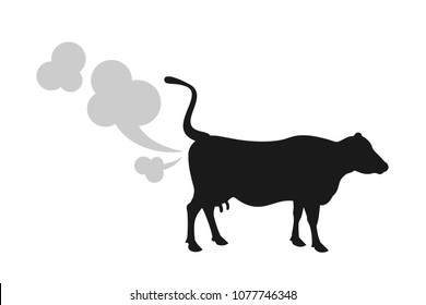 Cow fart - animal is producing greenhouse gas and methane. Cattle and livestock as environmental and ecologica problem. Vector illustration