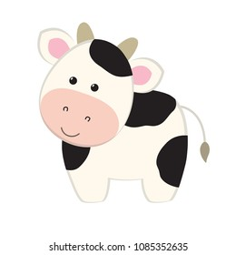 Cow flat cartoon style, cute vector illustration funny animal character, farm domestic mammal, for game, logo, kids book, animation, milk products, card, etc.