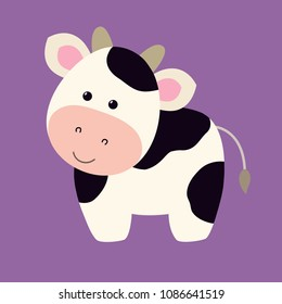 Cow flat cartoon style, cute vector illustration funny animal mascot character, farm domestic mammal, on purple background, for children`s game, logo, kids book, animation, milk products, card, etc.