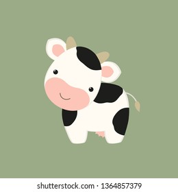 Cow flat drawing. Little calf cute kawaii style. Cartoon character animal in baby manner. For kids game, animation, app. Farm theme. Milk dairy products. Sticker, emoji, icon, logo, simple vector.