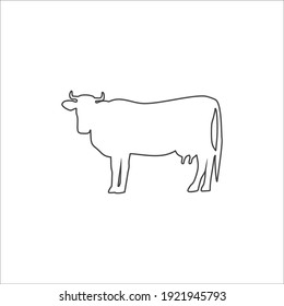 Cow flat line icon. Vector flat illustration