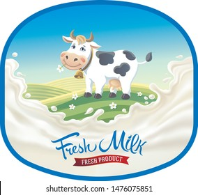 Cow in frame, in a cartoon style against the background of a rural landscape and a splash of milk in the foreground