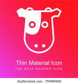 Cow frontal head red and pink gradient material white icon minimal design